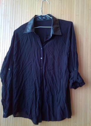 Рубашка с кожаньім воротником