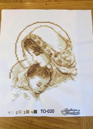 Вишитий бісером образ марія з дитям золотий 16 на 19