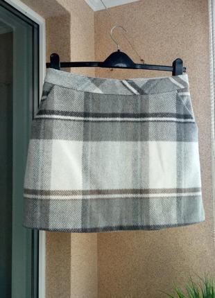 Стильная утепленная / теплая юбка мини в клетку