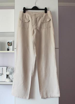 Бежевые льняные брюки с кармашками от m&s