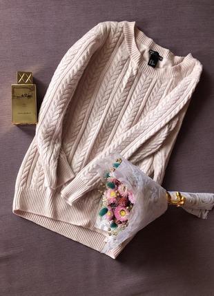 Актуальный  теплый пудровый свитер h&m с прекрасным составом