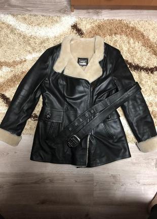 Кожаная куртка на мутоне