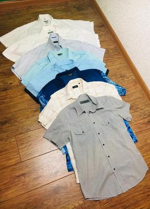 Мужская рубашка шведка, цена за все 8 штук. белая, голубая, серая, дракон.