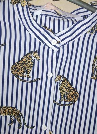 Рубашка в полоску принт тигры4 фото