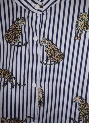 Рубашка в полоску принт тигры5 фото