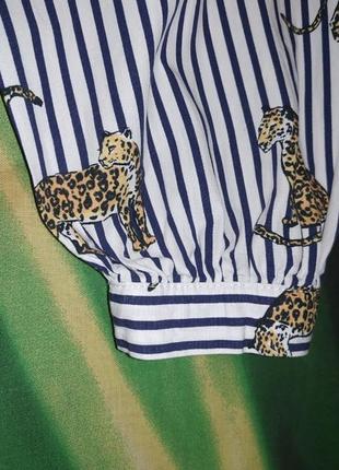 Рубашка в полоску принт тигры7 фото