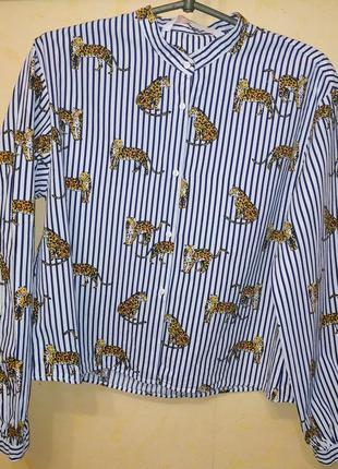 Рубашка в полоску принт тигры3 фото