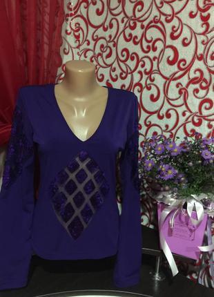 Шикарная блуза \кофта vipart,декор  гипюра и паеток,высокое качество!46 р