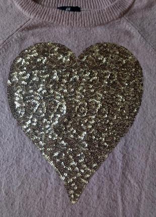 Шерстяный свитер джимпер с большим сердцем