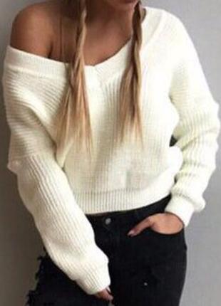 Стильный белый вязаный свитер с мысом ,универсал размер, 9 цветов