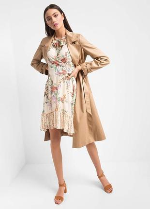 Шикарное шифоновое платье с чокером orsay в комьинированный цветочный принт!