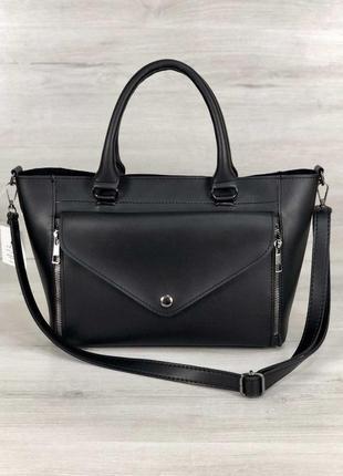 Черная сумка корзинка матовая с клатчем и ремешком на плечо