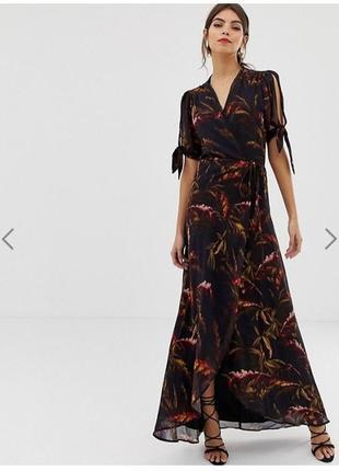Hope & ivy сукня на запах з принтом та зав'язками на рукавах