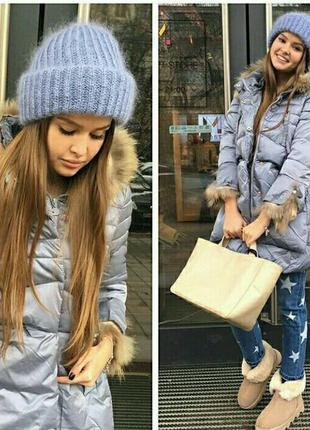 Супер модная обьемная пушистая шапка из мохера такори tak.ori светло голубая