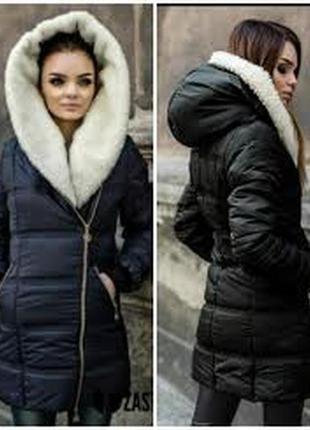 Зимняя удлиненная куртка на овчине