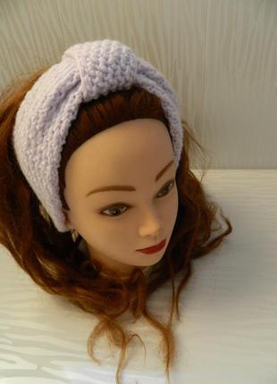 Двойная тёплая широкая повязка на голову нежно-сиреневого цвета 100% hand made
