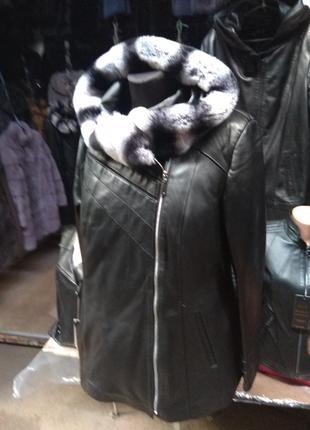 Куртка кожаная зима с шиншиллой
