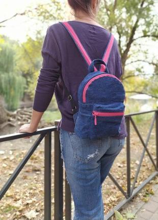 Джинсовый рюкзачок со вставками
