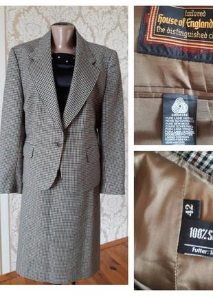 Франция  винтажный фирменный 100%  шерстяной костюм юбка пиджак