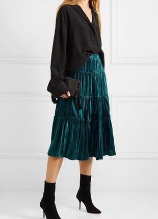 Стильная трендовая велюровая миди юбка