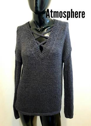 Джемпер пуловер лонгслив с v- образным вырезом