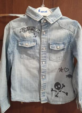 Джинсовая рубашка на 2-3 роки