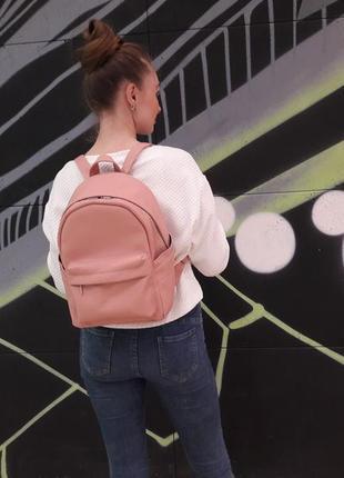 Жіночий пудровий рюкзак з кожзаму