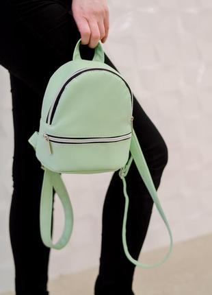 Женский рюкзак мятного цвета из кожзама