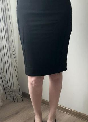Черная классическая трикотажная юбка/спідниця резинка/карандаш,миди, мини на осень и весну