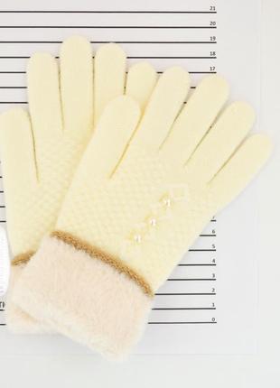 Детские шерстяные перчатки для девочек - длина 19 см