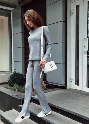 Шикарный стильный прогулочный костюм вязаный спортивный серый кофта широкие брюки