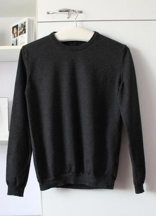 Серый базовый плотный свитер из шерсти мериноса от tommy hlfiger, оригинал
