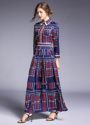 Платье макси рубашечного кроя с длинными рукавами в принт