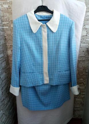 Костюм пиджак юбка в клетку офисный официальный костюм