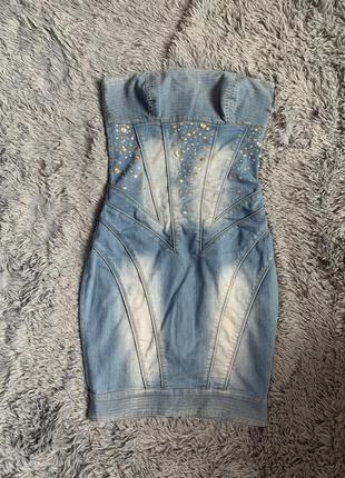Бандажное джинсовое платье balizza