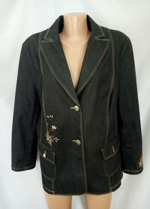 Стильный джинсовый жакет, пиджак с вышивкой, большой размер.