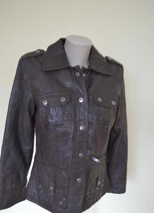 Шикарная качественная  брендовая курточка из натуральной кожи темно-коричневая