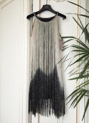 Платье с длинной люрекс бахромой италия xs/s /м нарядное черное с золотым