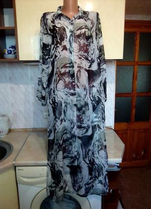 Новое легкое длинное  шифоновое платье халат, шифон пляж