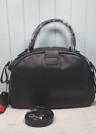 Женская кожаная сумка polina & eiterou чёрная саквояж жіноча шкіряна