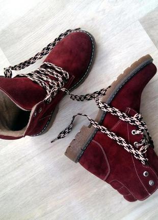 Рр 36-41 осень(зима) натуральный замш италия стильные ботинки бордо на шнуровке