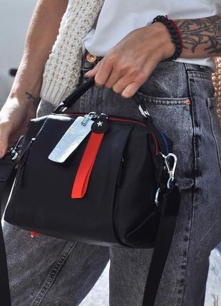 Женская кожаная сумка трансформер черная polina & eiterou жіноча шкіряна чорна