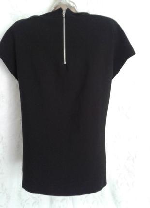 Трикотажная черная блузочка с кружевом и молнией по спинке, zara5 фото