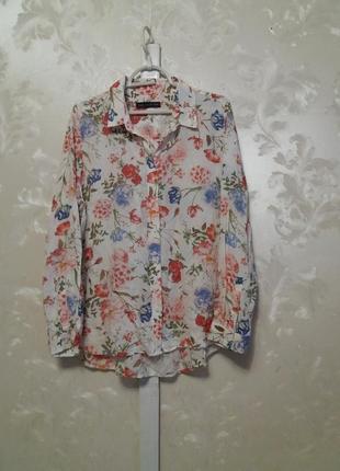 Тоненькая вискозная рубашка в цветочный принт m&s