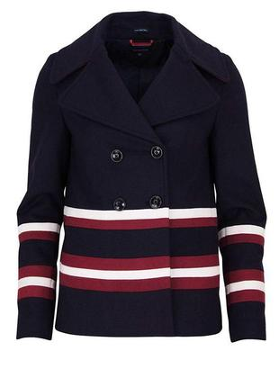 Пальто оригинал синее с полосками tommy hilfiger