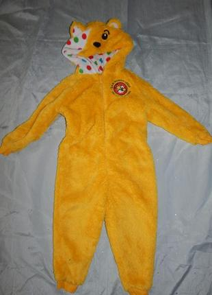 Пижама теплая человечек плюшевый домашний костюм на девочку 2-3 года