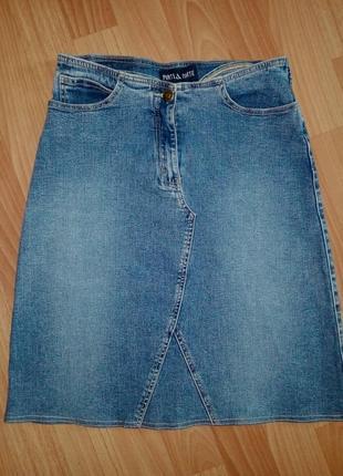 Джинсовая юбка трапеция