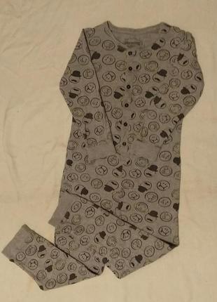 Веселая трикотажная слип пижама кугурими со смайлами 8-9 лет
