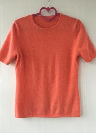 Персик! сочный персиковый кашемировый джемпер с коротким рукавом, натуральный кашемир