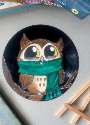 Картина совёнок интерьерная круглая картина на подарок сова